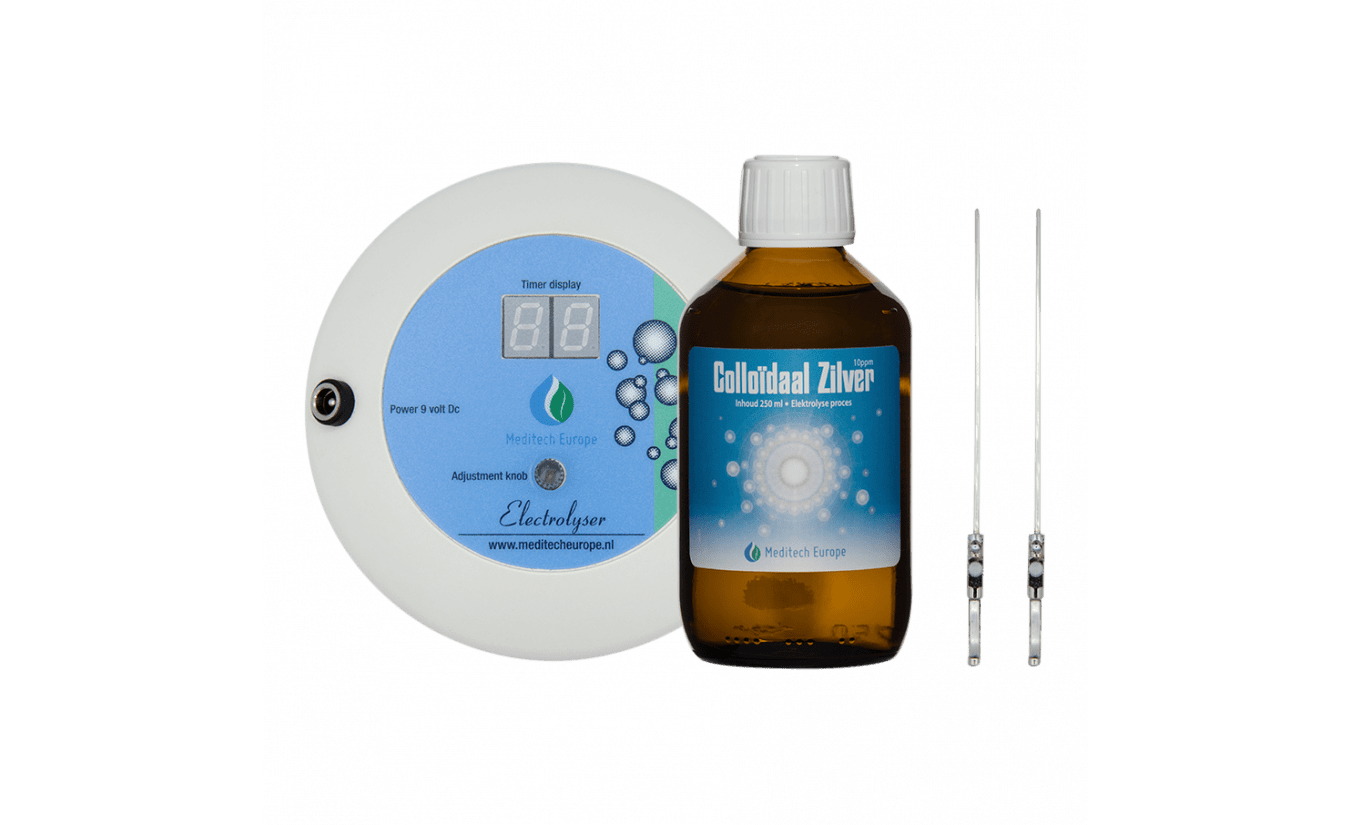 Electrolyser met timerdisplay en zilver electroden + 1x 250ml Colloïdaal zilver